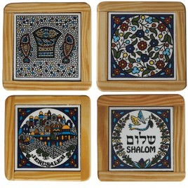 Wooden Framed 4 Assorted Coasters Plates
