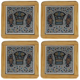 Wooden Framed 4 Tabgha Coasters Plates