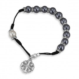 Black Pearl Beaded Rosary Bracelet With Jerusalem Cross Charm