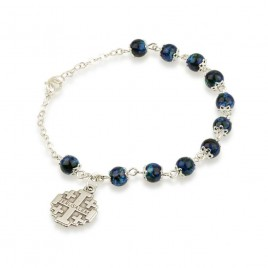 Blue Beaded Rosary Bracelet with Jerusalem Cross Charm