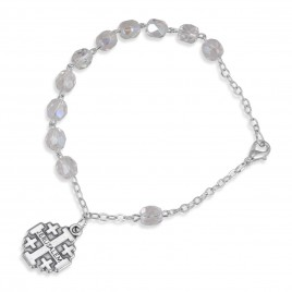 Clear Color Beaded Rosary Bracelet With Jerusalem Cross