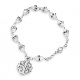 Crystal Beaded Rosary Bracelet With Jerusalem Cross Charm